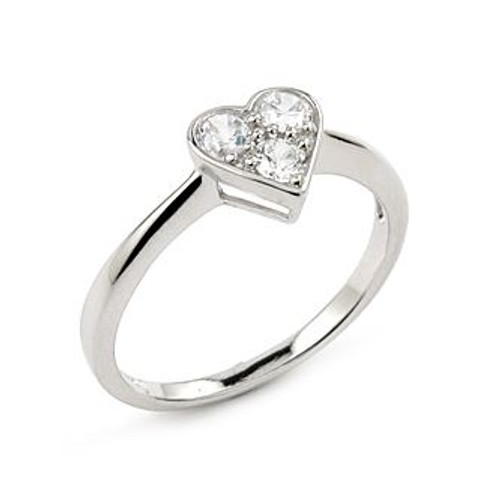 3 ROUND CZ HEART SHAPE RING