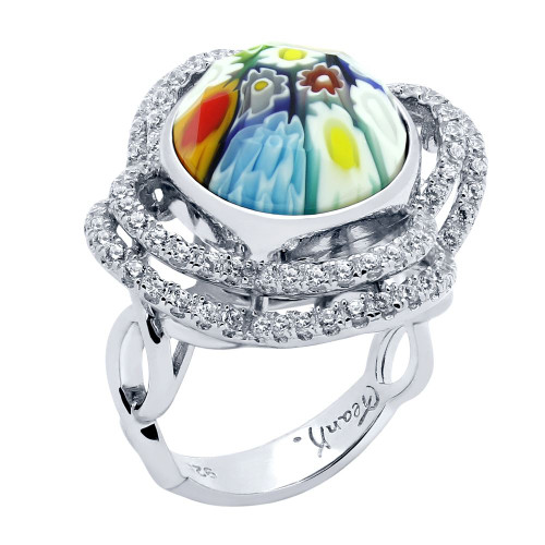 MULTICOLOR MURANO MILLEFIORI ROUND RING WITH INTRICATE CLOVER CZ BASKET
