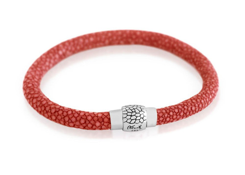 CORAL STINGRAY LEATHER BRACELET WITH MAGNETIC LOCK