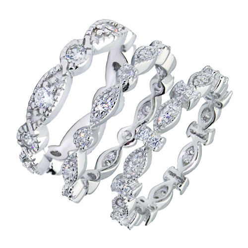 RHODIUM PLATED CZ ETERNITY BAND TRIPLE SET