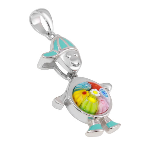 MURANO MILLEFIORI BOY PENDANT WITH DANGLING MULTI ROUND BODY