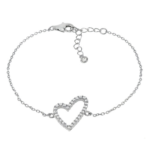 STERLING SILVER CZ FLOATING HEART RHODIUM BRACELET