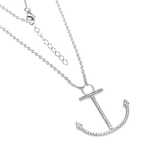 STERLING SILVER PAVE CZ ANCHOR W. ROLO D/C NECKLACE