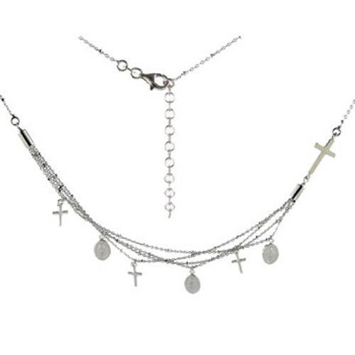 ITALIAN STERLING SILVER RELIGIOUS CHARMS NECKLACE