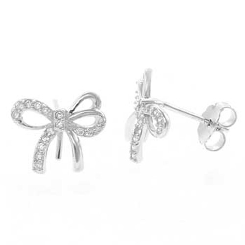 STERLING SILVER CUBIC ZIRCONIA BOW STUD EARRINGS