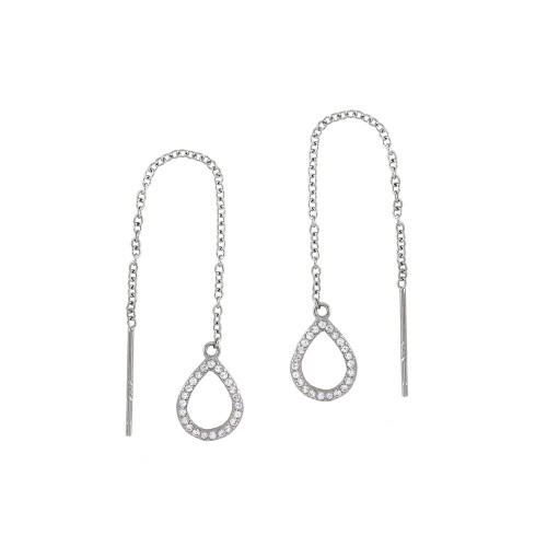 STERLING SILVER CUBIC ZIRCONIA TEARDROP THREADER EARRINGS