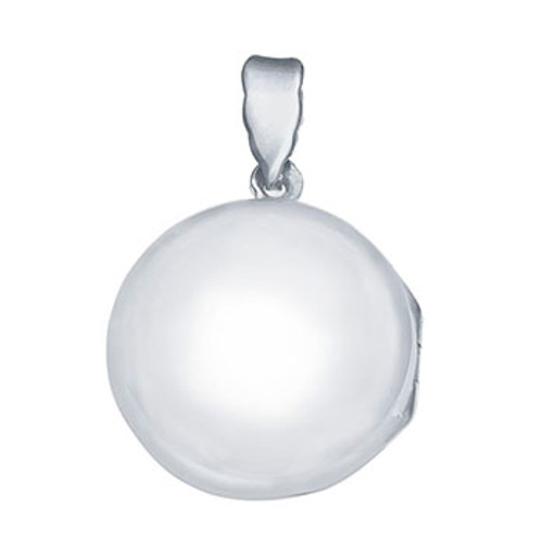STERLING SILVER PLAIN ROUND LOCKET PENDANT