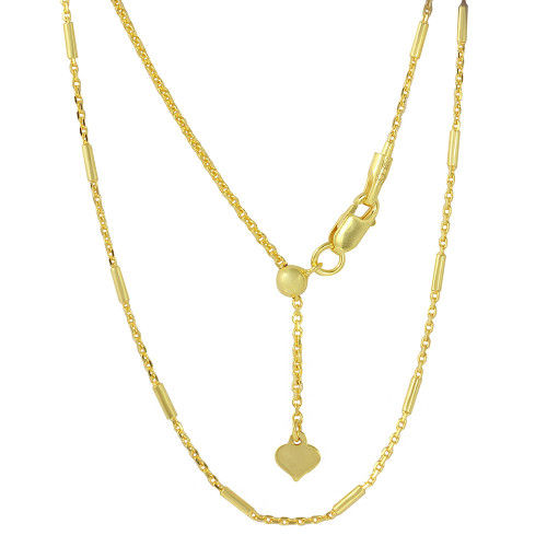 "ADJUSTABLE GOLD PLATED BAR CHAIN (1.2MM)  14"" TO 24"""