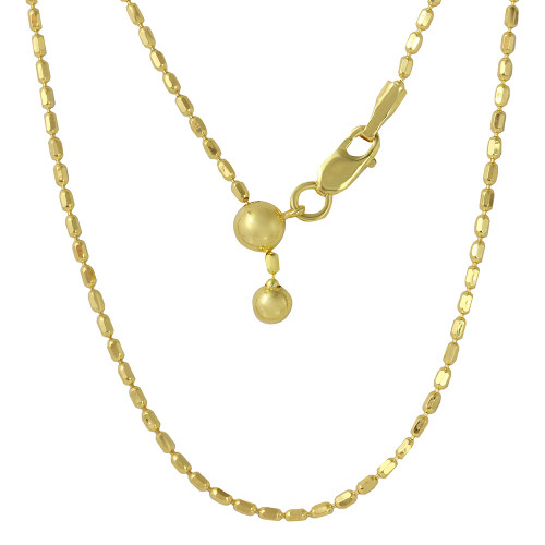 """ADJUSTABLE GOLD PLATED OVAL BEAD CHAIN (1.3MM)  14"""" TO 24"""""""