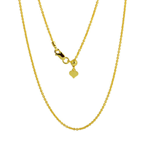 """ADJUSTABLE GOLD PLATED ROLLO LINK CHAIN (1.0MM)  14"""" TO 24"""""""