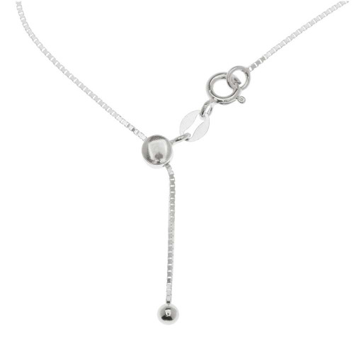 "ADJUSTABLE STERLING SILVER BOX CHAIN 019DC (1.0MM) 14"" TO 22"""
