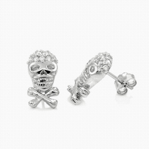 STERLING SILVER CZ SKULL CROSSBORNE CZ STUD EARRINGS