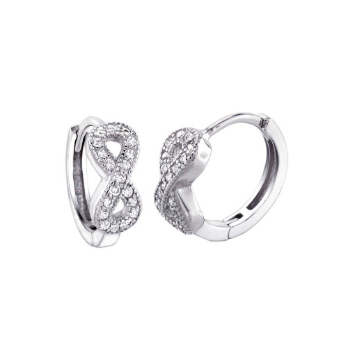 STERLING SILVER INFINITY CUBIC ZIRCONIA HUGGIE EARRINGS
