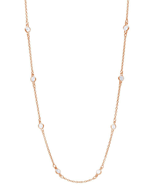 """ROSE GOLD 4MM BEZEL CZ BY THE YARD NECKLACE 24"""""""