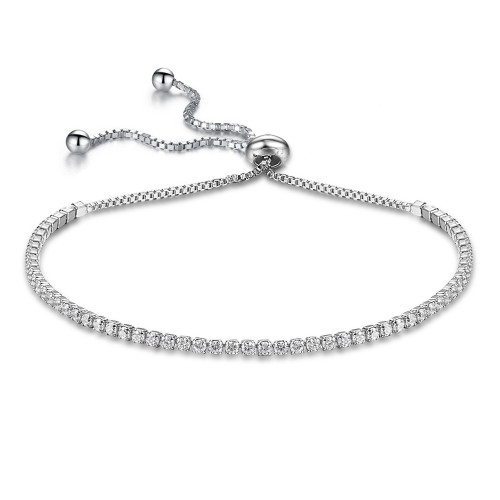 2MM STERLING SILVER RHODIUM ROUND CUT CUBIC ZIRCONIA ADJUSTABLE BRACELET