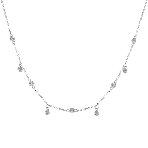 "RHODIUM PLATED 4MM BEZEL CZ BY THE YARD NECKLACE W/DANGLE CZ 16""+2"