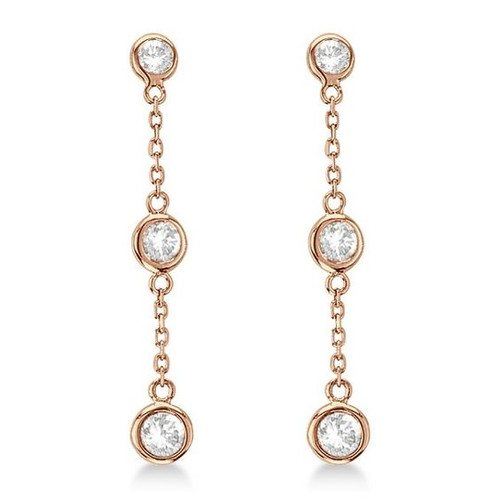 ROSE GOLD PLATED DANGLE EARRING 4MM BEZEL SET