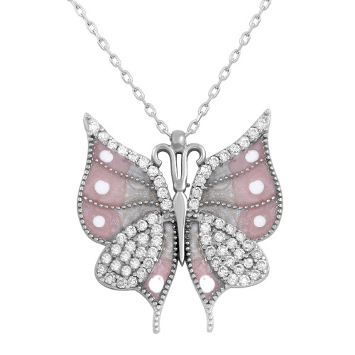 ENAMEL PINK  BUTTERFLY W/WHITE CZ STONE NECKLACE 16+2""