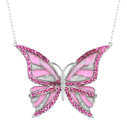 ENAMEL PINK BUTTERFLY W/PINK CZ STONES NECKLACE 16+2""