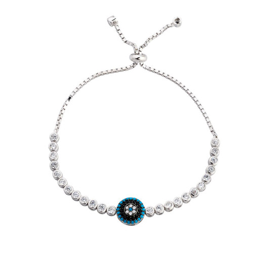 3MM STERLING SILVER RHODIUM ROUND CUT ADJUSTABLE BOLO-TIE BRACELET W/GEM STONES AND CZ