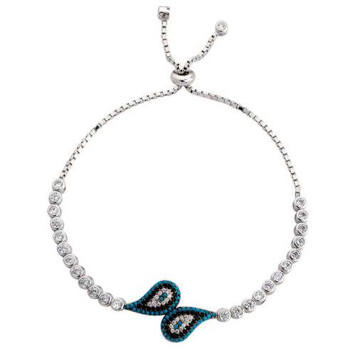 3MM STERLING SILVER RHODIUM ROUND CUT ADJUSTABLE BOLO-TIE BRACELET W/TEAR DROPS GEM STONES AND CZ