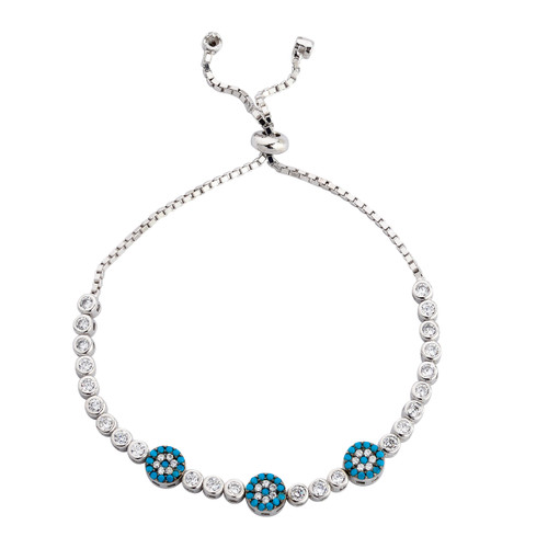 3MM STERLING SILVER RHODIUM ROUND CUT ADJUSTABLE BOLO-TIE BRACELET W/3 FLOWERS GEM STONES AND CZ