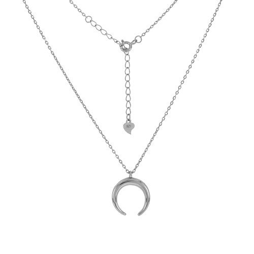 STERLING SILVER D/C CABLE CHAIN W/HALF MOON PENDANT RHODIUM NECKLACE