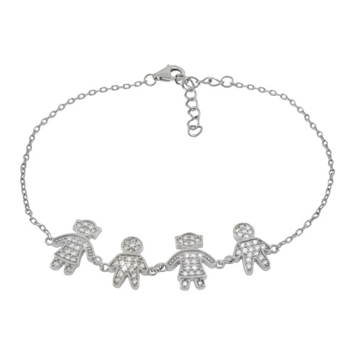 STERLING SILVER PAVE CZ BOYS GIRLS RHODIUM BRACELET