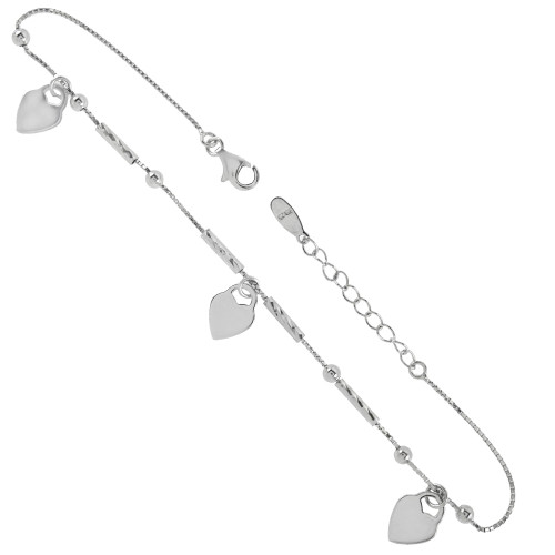 STERLING SILVER FANCY BOX CHAIN W/DANGLE HEART RHODIUM ANKLET