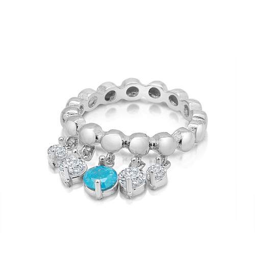 RHODIUM PLATED STACKABLE W/DANGLING STONES CZ RING