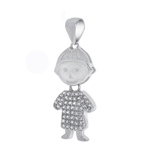 STERLING SILVER BOY CUBIC ZIRCONIA PENDANT MOVABLE HEAD