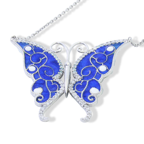 ENAMEL BLUE BUTTERFLY W/WHITE CZ STONES REVERSIBLE NECKLACE 16+2""