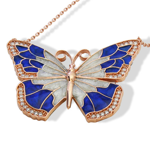 ENAMEL BLUE&WHITE ROSE GOLD BUTTERFLY W/WHITE CZ STONES REVERSIBLE NECKLACE 16+2""