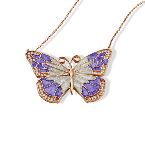 ENAMEL PURPLE&WHITE ROSE GOLD BUTTERFLY W/WHITE CZ STONES REVERSIBLE NECKLACE 16+2""