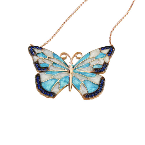 ENAMEL TURQUOISE&WHITE ROSE GOLD BUTTERFLY W/BLUE CZ STONES REVERSIBLE NECKLACE 16+2""