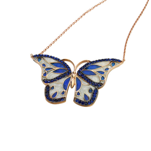 ENAMEL BLUE&WHITE ROSE GOLD BUTTERFLY W/BLUE CZ STONES REVERSIBLE NECKLACE 16+2""