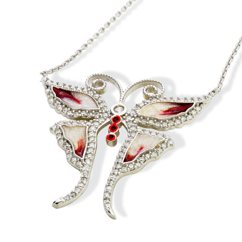 """ENAMEL RED&WHITE BUTTERFLY W/WHITE CZ STONES REVERSIBLE NECKLACE 16+2"""""""