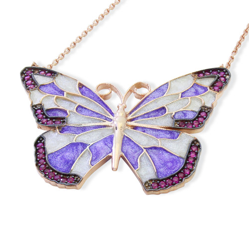 ENAMEL PURPLE&WHITE ROSE GOLD BUTTERFLY W/PINK CZ STONES REVERSIBLE NECKLACE 16+2""