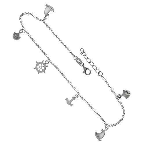 ROLO SHELL SAIL BOAT ANKER SHIP'S HELM CHARMS ADJUSTABLE ANKLET