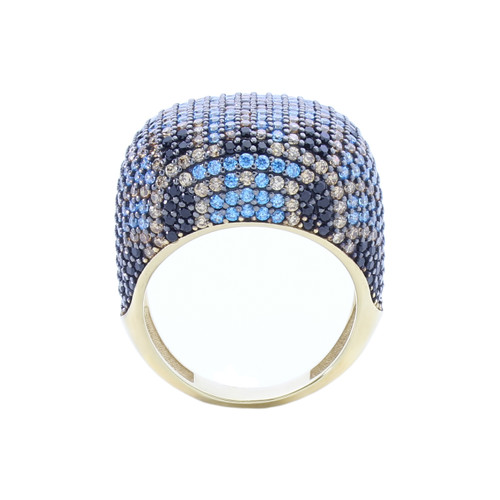 MULTICOLOR PAVE CZ GOLD PLATED COCKTAIL RING