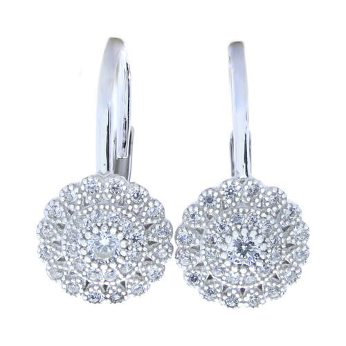 FLOWER CZ LEVERBACK ROUND 100MM EARRINGS