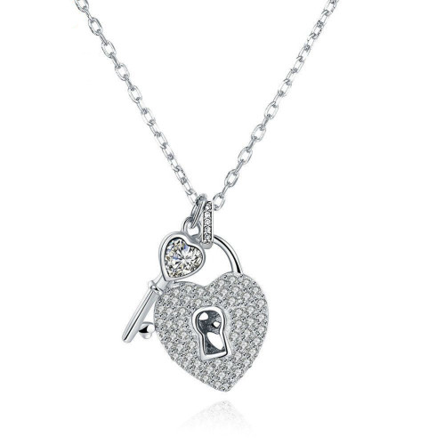 PAVE CLEAR CZ LOCK AND KEY HEART SHAPED PENDANT 'CHAIN NOT INCLUDED'