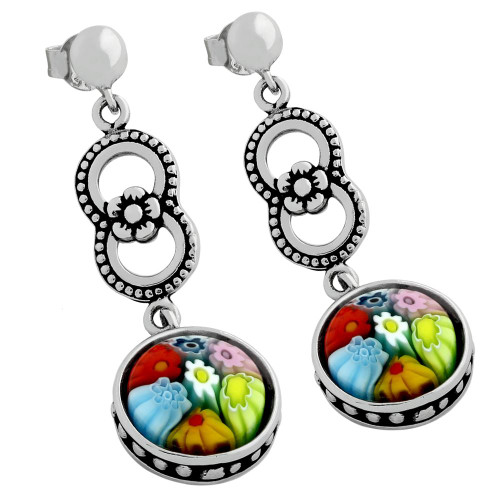 MULTICOLOR MURANO MILLEFIORI ROUND POST EARRINGS WITH FLOWER AND CIRCLE DESIGN