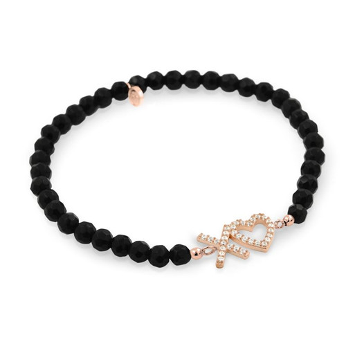 ROSE GOLD PLATED XO♥ HEART CZ AND BLACK ONYX STRETCH BRACELET