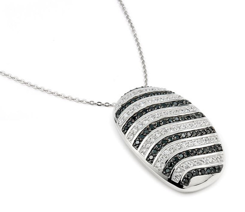 "CZ BLACK AND WHITE PAVE STRIPE PATTERN NECKLACE 16 ""+1 """