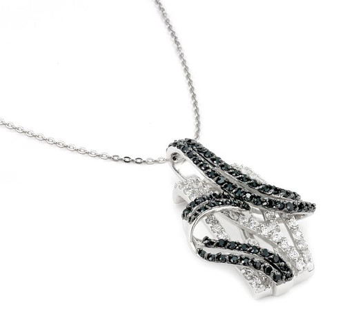 "PAVE BLACK AND WHITE CZ FREEFORM NECKLACE 16""+ 1 """