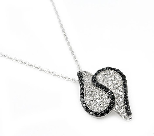 """S SHAPE PAVE BLACK AND WHITE NECKLACE 16""""+1"""""""