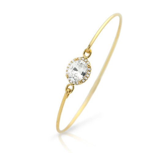 GOLD PLATED OVAL CZ BANGLE WITH SURROUNDING CLEAR CZ STONES