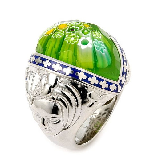 EXQUISITE COLLECTION FACETED GREEN MURANO GLASS MARQUISE RING WITH VENETIAN MASKS