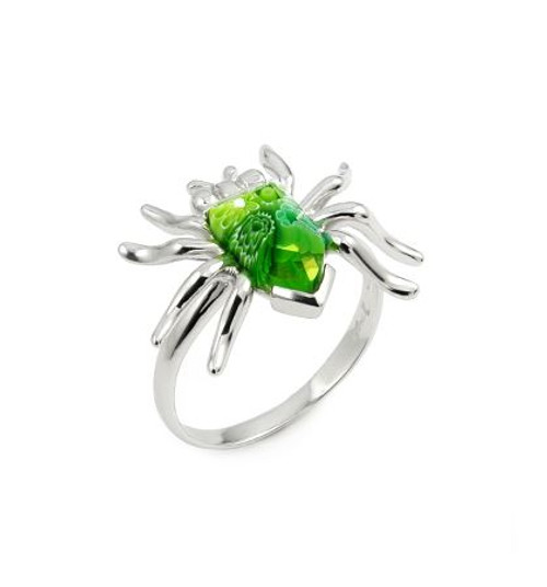 MURANO MILLEFIORI GREEN FACETED SPIDER RING